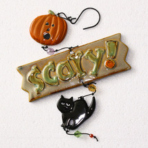 Spookyville SCARY! Ceramic Jack-O-Lantern Black Cat Halloween Dangler Or... - £3.37 GBP