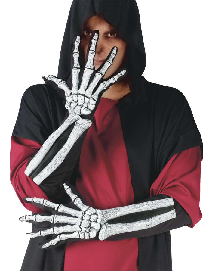 SKELETON GLOVE AND WRIST BONE, Holloween Costume - New