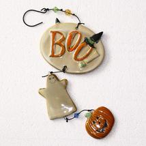 Spookyville BOO! Ceramic Jack-O-Lantern & Ghost Halloween Dangler Ornament - €3,82 EUR