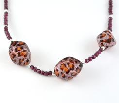 Murano Glass and Faceted Garnet Sterling Silver Necklace - $56.00