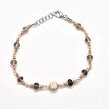 Bracelet in Sterling Silver 925 Laminate Rose Gold with Quartz ospreys and Cu... image 2