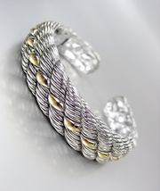 CLASSIC & ELEGANT Designer Inspired Silver Gold Accents Cable Cuff Bracelet - $572,37 MXN