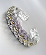 CLASSIC & ELEGANT Designer Inspired Silver Gold Accents Cable Cuff Bracelet - $29.99
