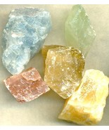 Blue Green Red Orange Amber Calcite Rough Parcel - $13.58