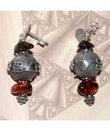 .925 Sterling Silver Dark Baltic Amber Earrings OOAK - $25.00