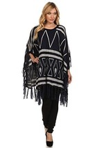 ICONOFLASH Women's Casual Fringed Tribal Sweater Knit Poncho, Navy - $49.49