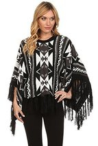 ICONOFLASH Women's Casual Tribal Fringed Sweater Poncho, Black - $49.49