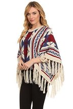ICONOFLASH Women's Fringed Tribal Print Sweater Poncho Cape, Beige - $49.49