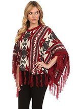 ICONOFLASH Women's Fringed Tribal Print Sweater Poncho Cape, Wine Red - $49.49
