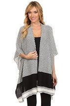 ICONOFLASH Women's Printed Knit Open Front Sweater Shawl Wrap, White - $47.51