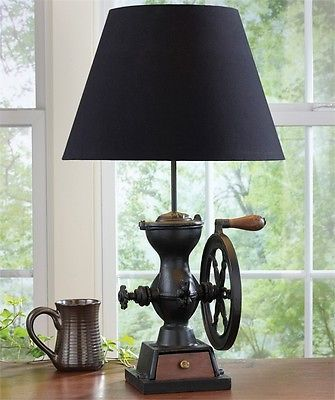 Vintage Style  Primitive Coffee Grinder Lamp with Shade ,Set of Two!  25.75''H.