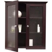 Modern Wall Cabinet Glass Doors Bathroom Kitchen Elegant Wooden Storage ... - $99.99