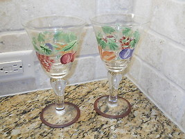 "Napa Valley  set of 2  water goblets 8 1/4"" Fruit hand painted - $19.75"
