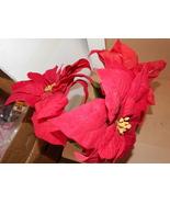 """Ashland Fall Hollween & Christmas Decor Stems Red Velvet Flowers 3ea 27""""... - $7.88"""