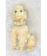 Elegant Crystal Rhinestone Golden Poodle Dog Brooch 1960s vintage - $14.80