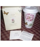 12oz ceramic butterfly mug  travel coffee cup glass lid gift box thumbtall
