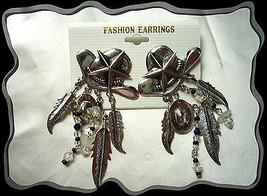 Western Cowboy Silver Hat Black n White Beads Dangle Pierced Earrings New 2 left - $5.00