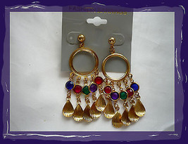 Gold Seashell Shapes with Colored Rhinestone Stones Pierced Earrings Only 2 lef  - $5.00