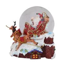"6.5"" Sleigh with Reindeer Musical Christmas Snow Globe Glitterdome exclu... - $83.95"