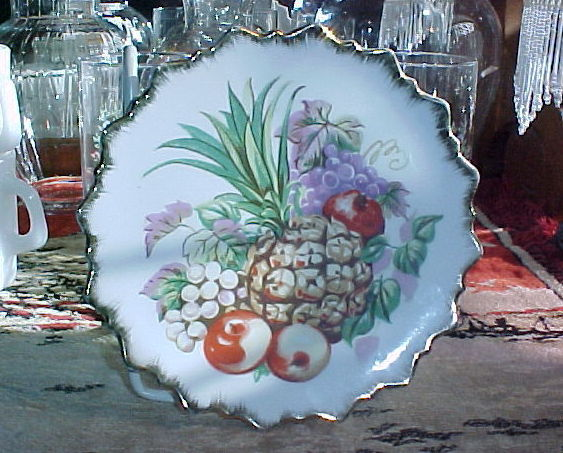 "Pineapple Fruit Plate-Scalloped Edges with Gold Trim-7"" DIAMETER;APPLES,GRAPES"