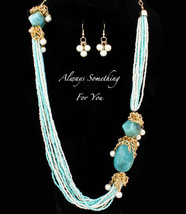 Long Bead Necklace & Earring Set Turquoise  - $23.99