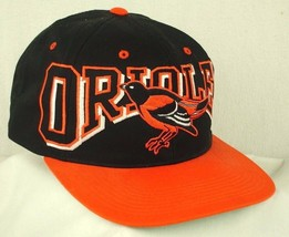 Baltimore Orioles Big Logo Real Bird Black Orange Bill Baseball Hat Cap EUC - $24.99