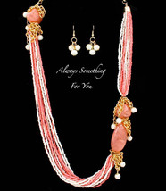 Long Bead Necklace & Earring Set In Coral and White - $23.99