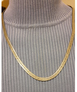 Vintage Sterling Silver Flat Herringbone Necklace  24 inches long 3/8 wide - $19.99
