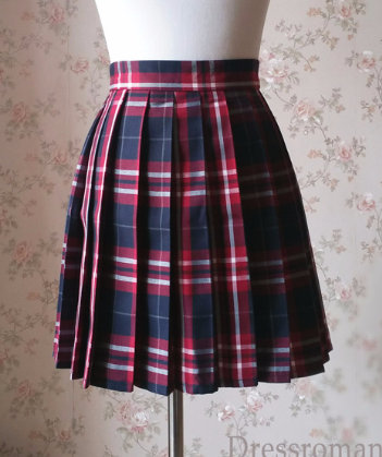 Red and Navy Plaid Skirt High Waisted Pleated Plaid Skirts Mini Plaid Skirt