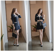 Spring Autumn Special Style Elegant Women Sweet V Collar Long Sleeve Min... - $18.50