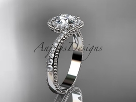 14kt white halo diamond engagement ring with a  Moissanite center stone ADLR379 - $2,035.00