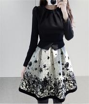 Korean Fashion Women Elegant Spring Autumn Flower Print Long Sleeve Mini... - $12.50