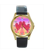 VALENTINE'S DAY 3 HEARTS LOVE, PINK UNIQUE GOLD OR SILVER TONE WATCH  6 ... - $25.99