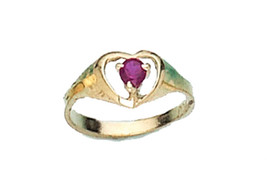 14 K Gold Heart Red Cz Stone Baby Ring Size On Sale - $47.03