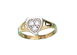 14 K Gold Heart Baby Ring Size W/ Cz Stones On Sale - $43.11
