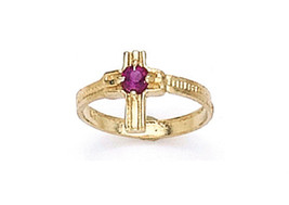14 K Gold Cross Baby Ring W/ Cz Stone On Sale This Week - $49.97