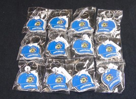 Key Ring w/Acrylic Fob ~ Wisconsin State Seal On Ball Cap ~ Lot of 12 Pi... - $14.65