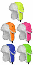 Neon Faux Fur Aviator-Stye Adult Winter Hat ~ 100% Polyester, 5 Color Ch... - $7.95
