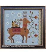 Spreading Joy christmas reindeer cross stitch chart Barbara Ana Designs - $10.80