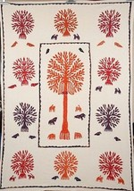 Twin Tree Of Life Tapestry Indian Wall Hanging Decor Embroidered Bedspread  - $41.58
