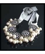 J Crew Necklace White Pearls Clear Rhinestones Gray Ties Bride Wedding P... - $59.00