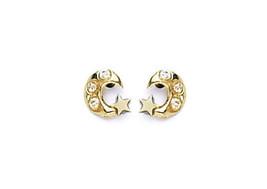 14k Gold Moon Stud Screw Back Earrings W/ CZ Stones for Children Adults ON SALE - $31.35