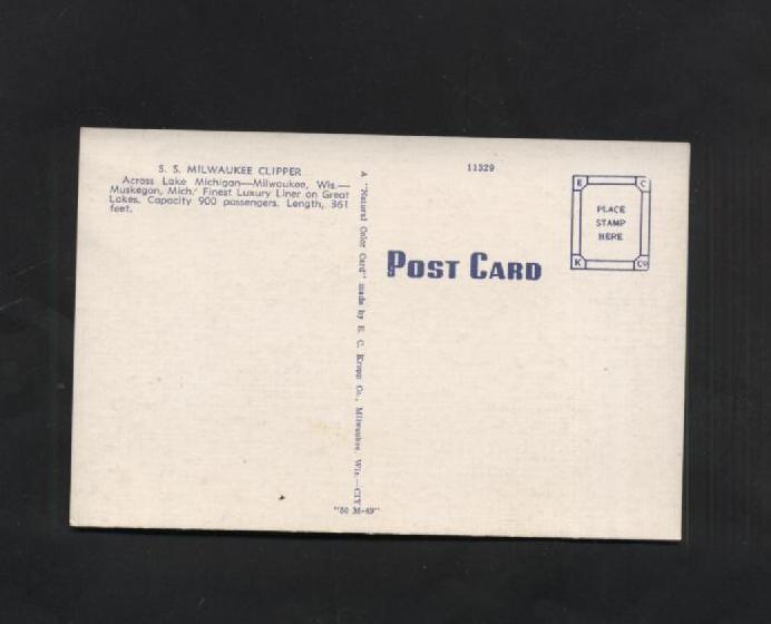 Vintage Postcard SS Milwaukee Clipper Lake Michigan Boats Ships Linen