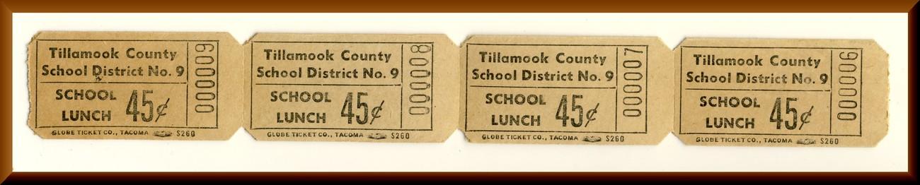 Vintage School Lunch Tickets, Four .45 cent Tickets, Circa 1950's