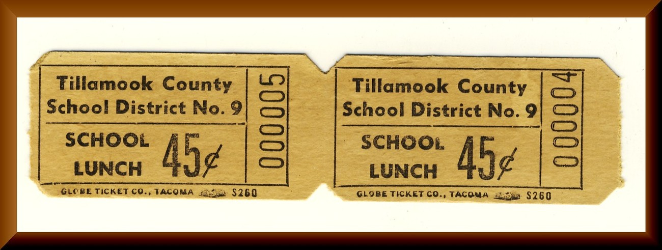 Vintage School Lunch Tickets, Two .45 cent Tickets, Circa 1950's