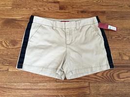 NWT Merona Womens Khaki Shorts with Black Stripe - Size 2 - $12.19