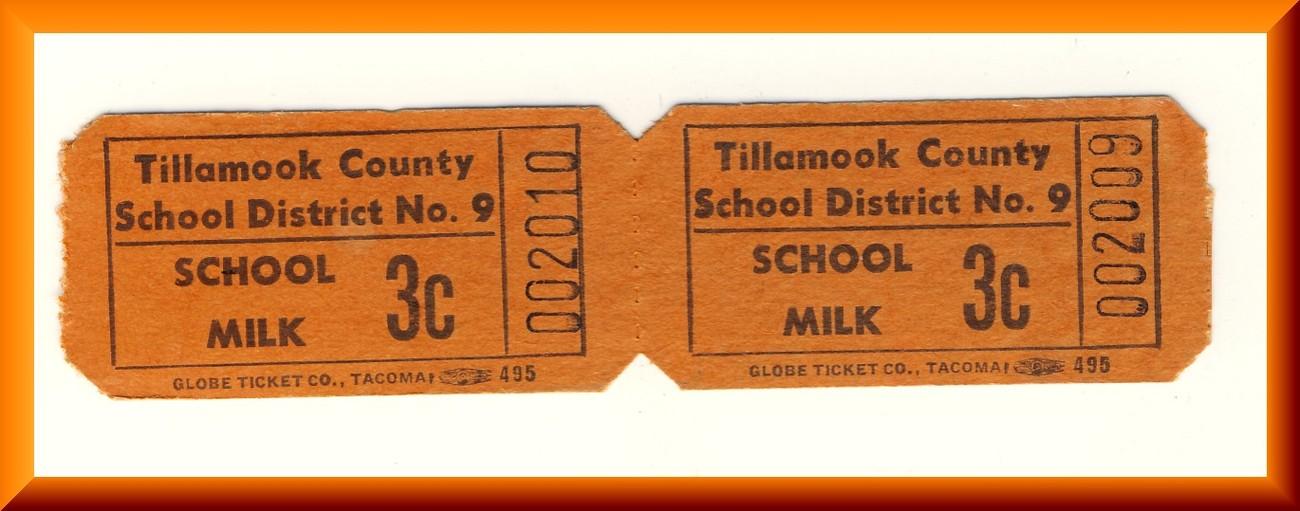 Vintage School Milk Tickets, Two .03 cent Tickets, Circa 1950's