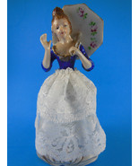 """Antique Vintage lady Doll Figurine with umbrella and lace skirt 6"""" - $15.98"""