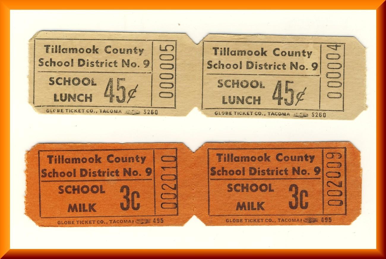 Vintage School Milk  & LunchTickets, 2-.03 cent/2-.45 cent Tickets, Circa 1950's