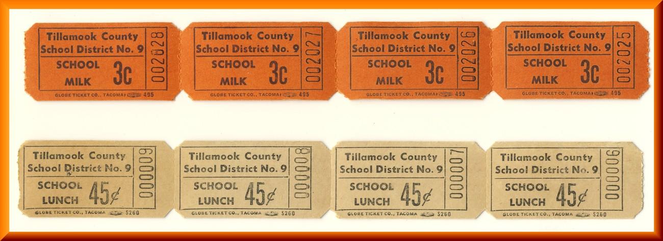 Vintage School Milk & LunchTickets, 4-.03 cent/4-.45 cent Tickets, Circa 1950's